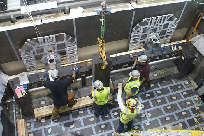 Workers install refractory brick inside a Low-Activity Waste (LAW) Facility vitrification melter at Hanford's Waste Treatment and Immobilization Plant (WTP).