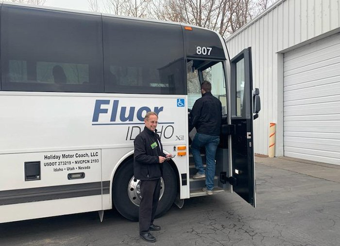 Idaho Falls small business Holiday Motor Coach transports Fluor Idaho employees to and from work at the Idaho National Laboratory Site.