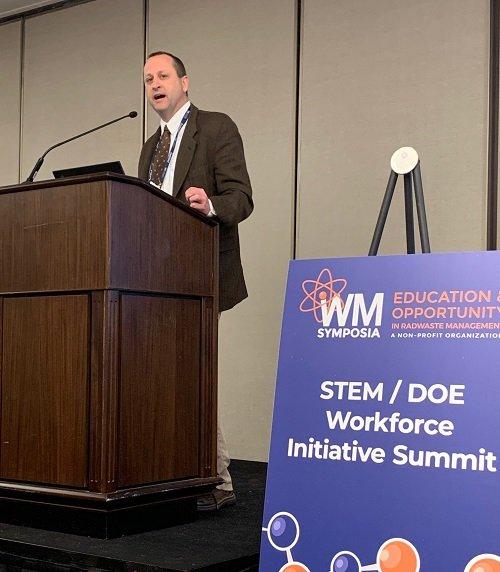 EM Principal Deputy Assistant Secretary Todd Shrader was keynote speaker at a STEM/DOE Workforce Initiative Summit held at the Waste Management Symposia.