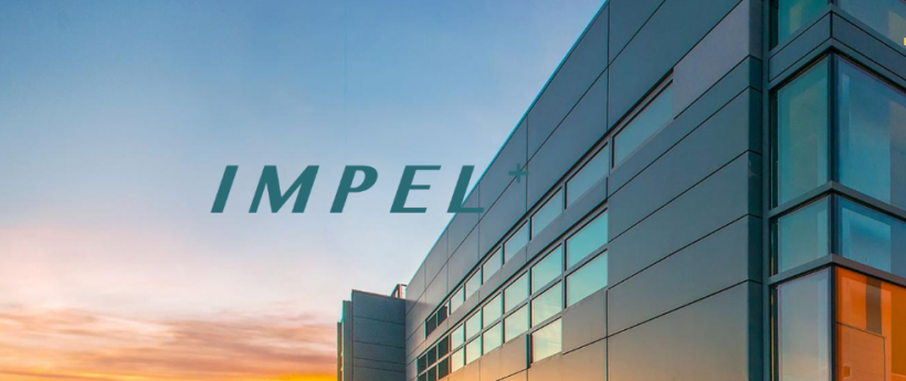 """The edge of a large office building with the sky beyond, and the word """"IMPEL"""" superimposed on it."""