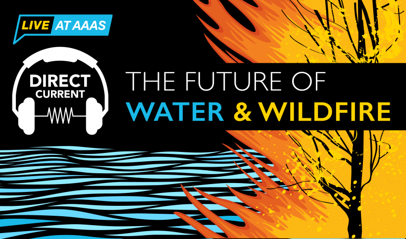 """Cover art for Direct Current podcast episode """"The Future of Water & Wildfire"""" depicting an artist's rendition of waves and a burning tree."""