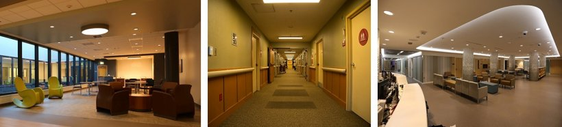 Three side-by-side photos of healthcare settings with tunable LED lighting