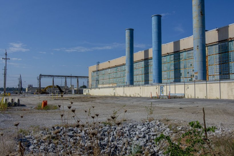 Pictured are the northwest and southwest ventilation stacks, which each stood 135 feet tall.