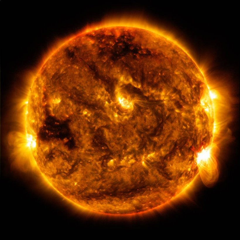 The Sun is an enormous ball of burning plasma involving a fusion reaction known as the proton-proton chain. In the core of the Sun, self-heating of hydrogen ions (protons) sustains the temperature of the ions above the level required for fusion to occur.