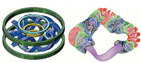 Conventional (left) and optimized (right) stellarators both use complex electromagnetic coils to confine plasmas using three-dimensional magnetic fields in the shape of a torus without relying on induced plasma currents to sustain the plasma.