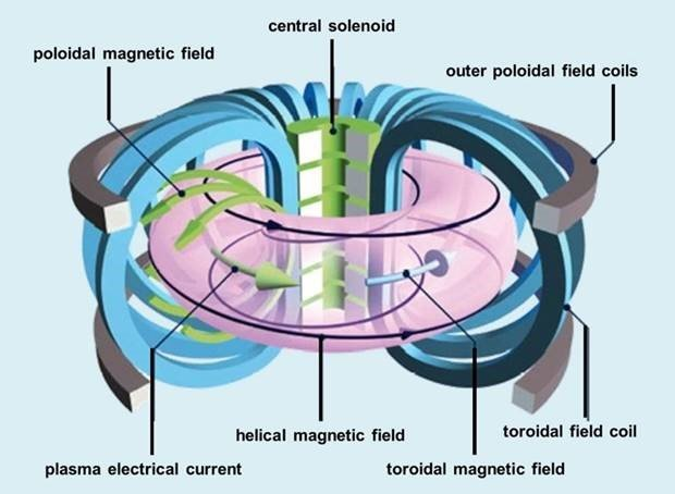 Basic tokamak components include the toroidal field coils (in blue), the central solenoid (in green), and poloidal field coils (in grey). The total magnetic field (in black) around the torus confines the path of travel of the charged plasma particles.