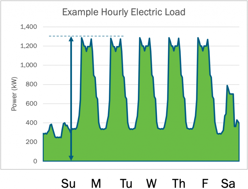 Graph displaying examples of hourly electric load.