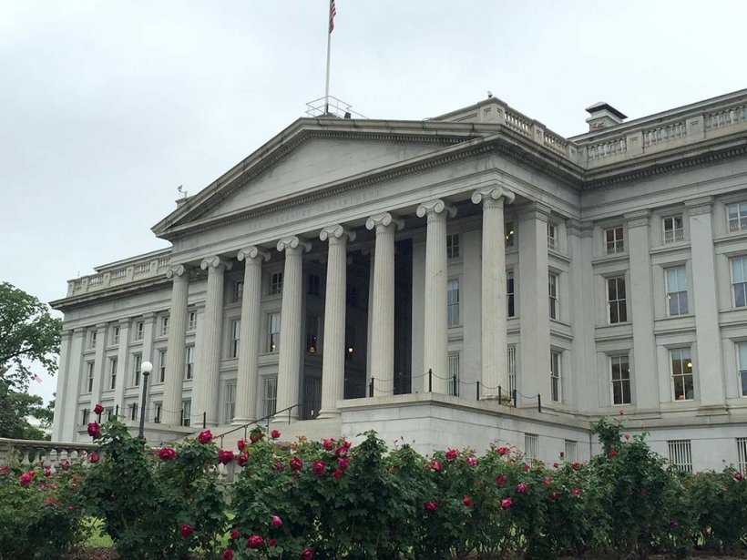 The front of the U.S. Department of Treasury.