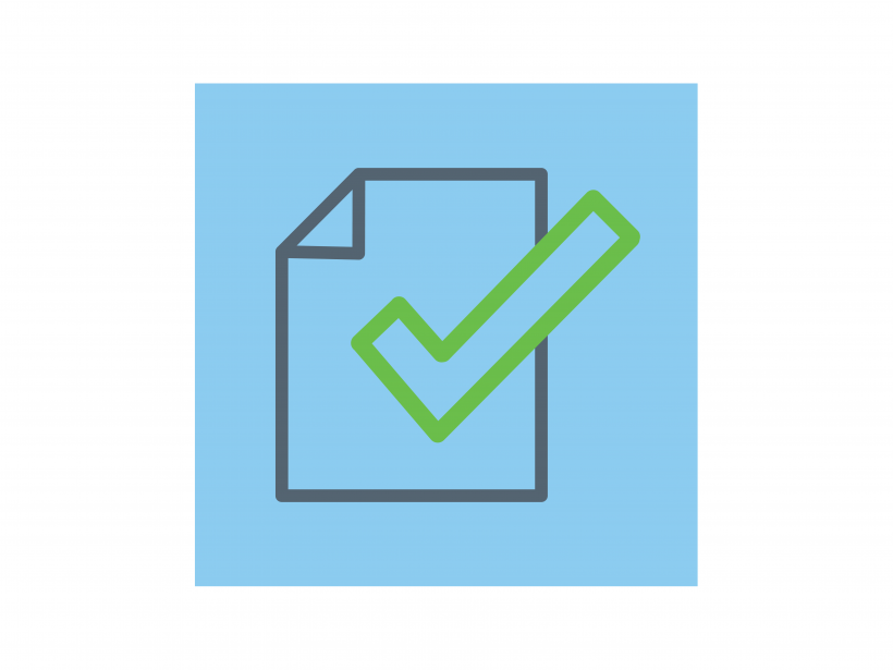 Icon of a checkmark and paper.