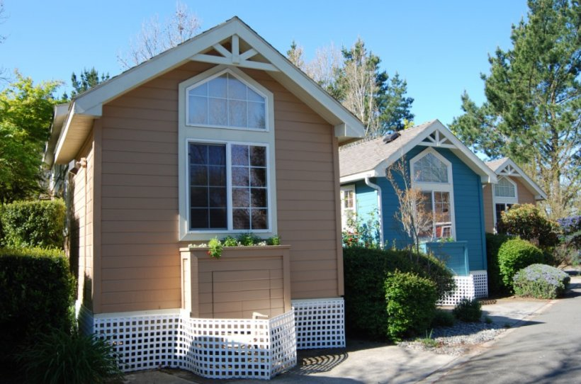 This is a photo of three small buildings with white trim around the windows.