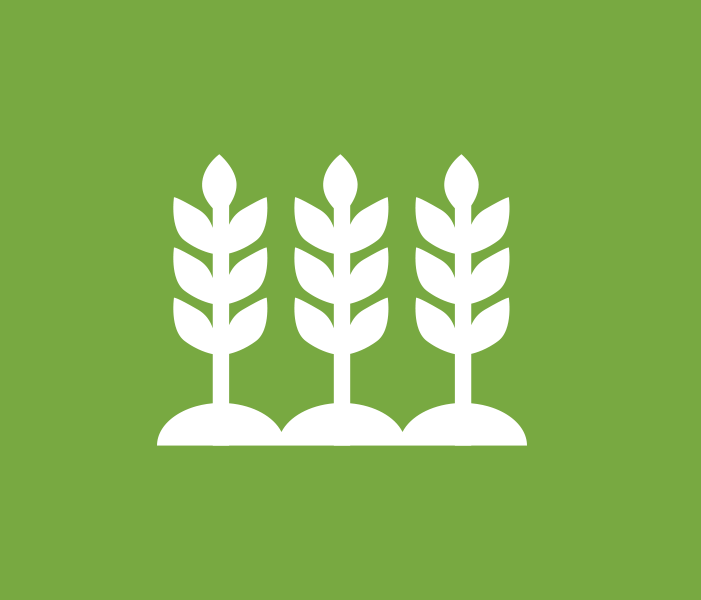 Green spherical icon of biomass plants growing in a row.