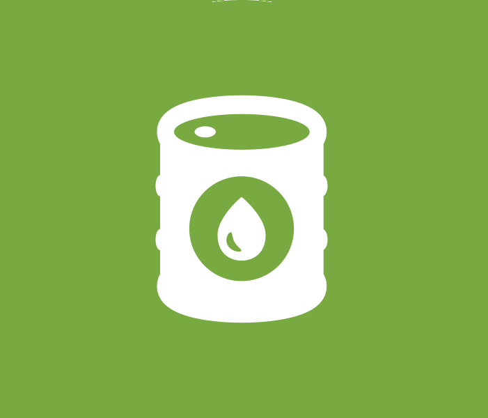 Green spherical icon of a barrel of liquid fuel.