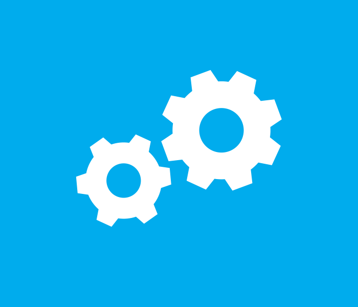 Blue spherical icon of circular, intertwined gears