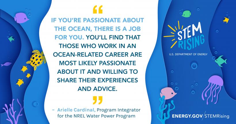 Arielle Cardinal works in NREL's Water Power Program