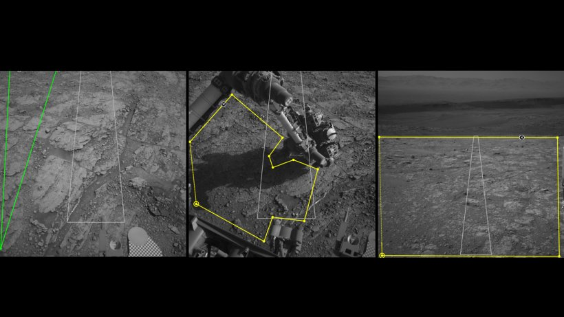 Three images from the public tool AI4Mars show different kinds of Martian terrain as seen by NASA's Curiosity rover.