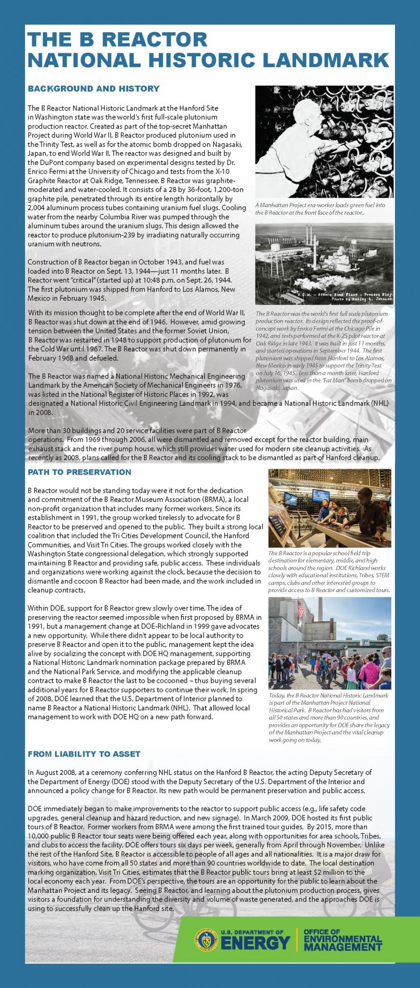 B Reactor Fact Sheet