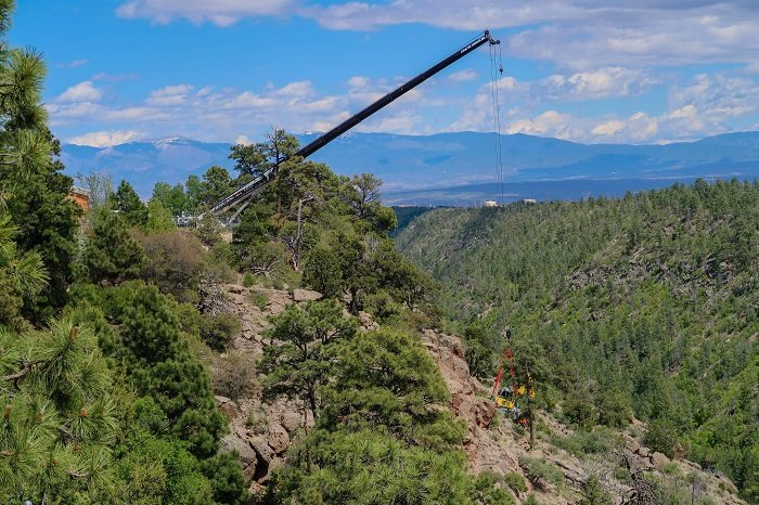 Cleanup locations at Los Alamos National Laboratory, a Manhattan Project site, include hillsides, canyon sides, and canyon bottoms. This photo shows soil cleanup in Los Alamos Canyon, which is adjacent to the former Technical Area-01.