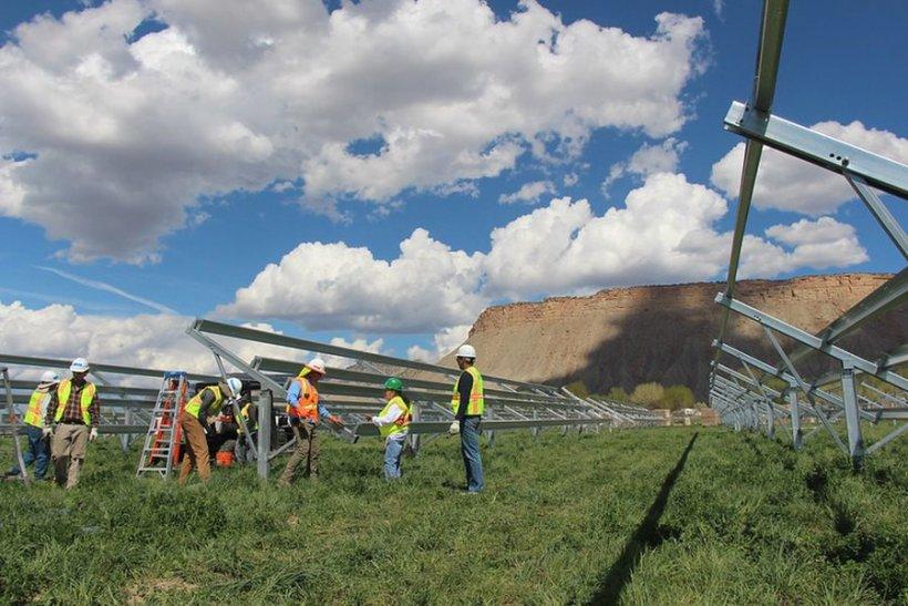Grid Alternatives installing solar racking.