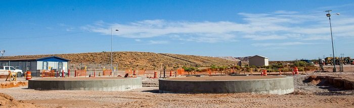 Concrete bases are in place for the Waste Isolation Pilot Plant's new fire water system tanks.