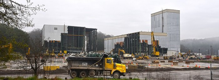 Demolition of the Centrifuge Complex at Oak Ridge presented challenges due to the size and height of its structures. Some buildings stood 180 feet tall.