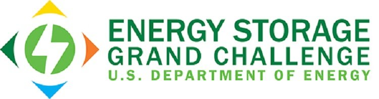 Energy Storage Grand Challenge words stacked in a white rectangle with a diamond-shaped graphic to the left.