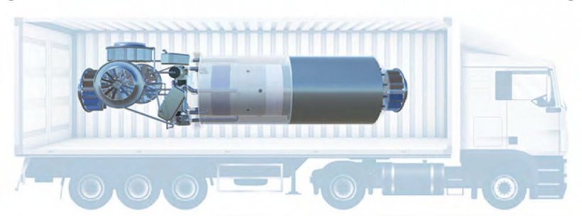 Graphic of a microreactor inside of a truck