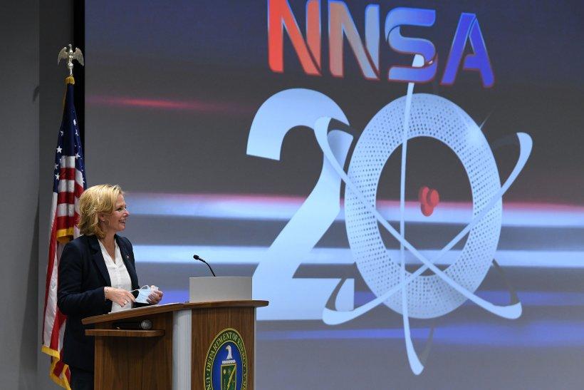 NNSA Administrator Lisa E. Gordon-Hagerty speaks during the NNSA 20th Anniversary Celebration event that recognized the milestones the Pantex team has met despite the pandemic..