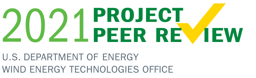 """Text logo that says """"2021 Project Peer Review Wind Energy Technologies Office"""""""