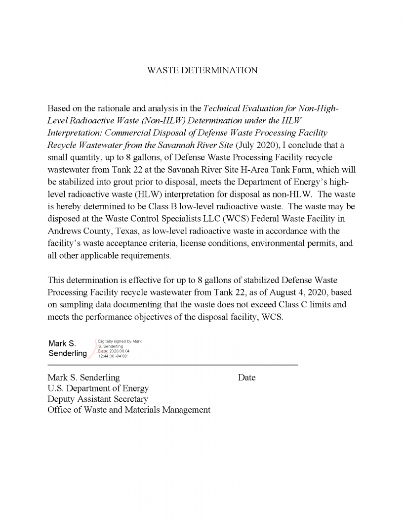 Signed Waste Determination DWPF Recycle Wastewater