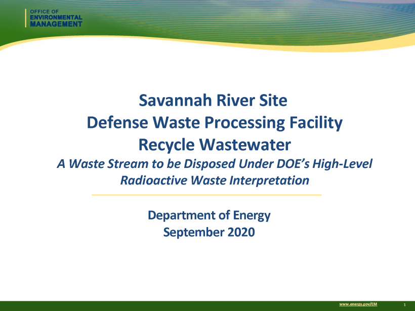 DWPF Recycle Wastewater Presentation for September 10, 2020, Informational Webinar