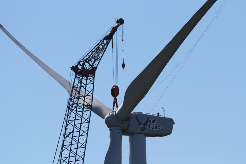 Wind turbine stationed at the U.S. Department of Defense's Joint Base Cape Cod in Bourne, Massachusetts.