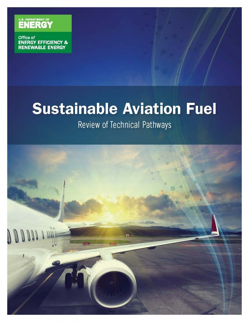 cover of the Sustainable Aviation Fuel: Review of Technical Pathways Report