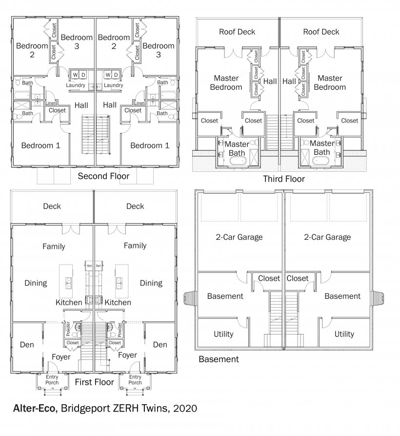 Floorplans for Bridgeport ZERH Twins by Alter Eco.