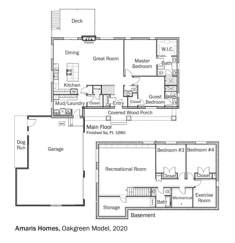 Floorplans for Oakgreen Model by Amaris Custom Homes.