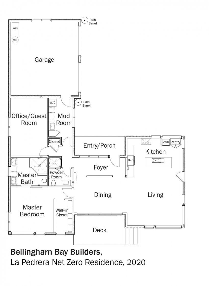 Floorplans for DOE Tour of Zero: La Pedrera Net Zero Residence by Bellingham Bay Builders.