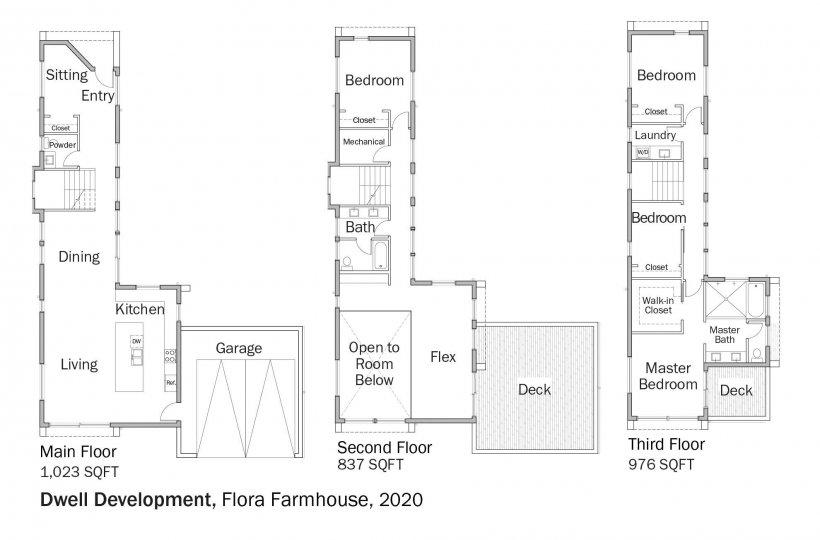 Floorplans for DOE Tour of Zero: Flora Farmhouse by Dwell Development.