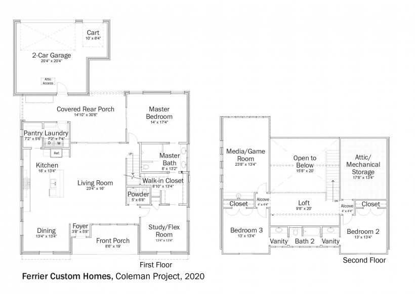 Floorplans for DOE Tour of Zero: Coleman Project by Ferrier Custom Homes.