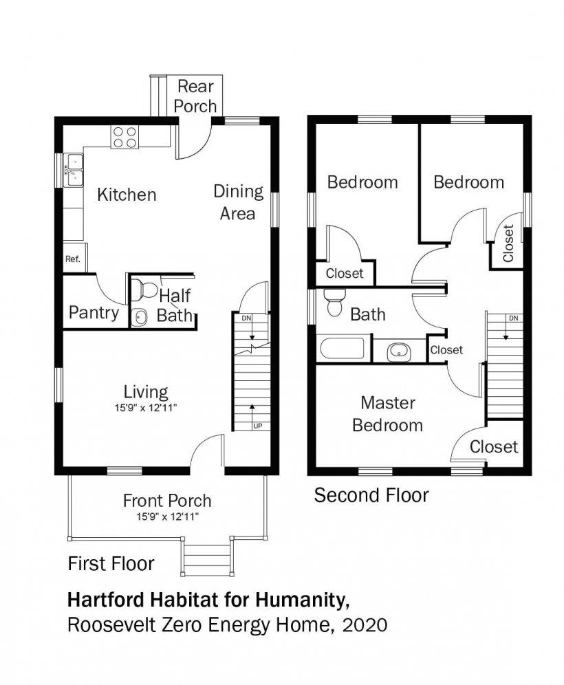 Floorplans for DOE Tour of Zero: Roosevelt Zero Energy Home by Hartford Habitat for Humanity.