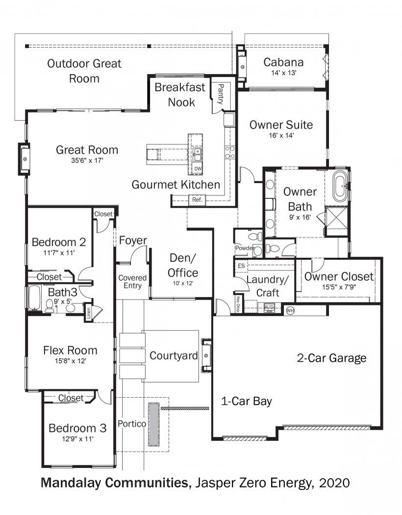 Floorplans for DOE Tour of Zero: Jasper Zero Energy by Mandalay Homes.