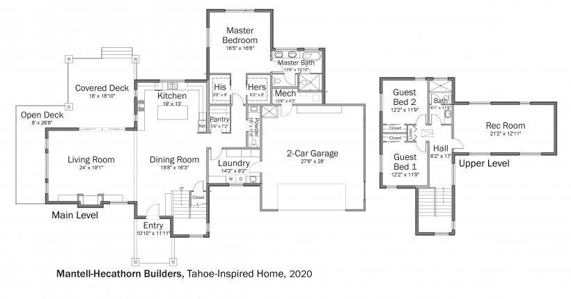 Floorplans for DOE Tour of Zero: Tahoe Inspired Home by Mantell-Hecathorn Builders.