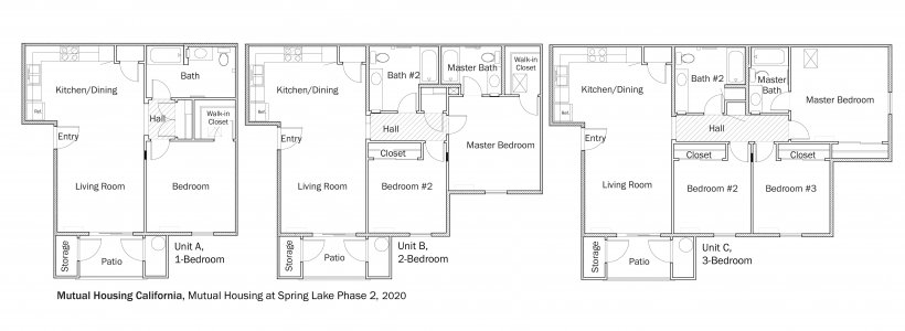 Floorplans for DOE Tour of Zero: Mutual Housing at Spring Lake Phase 2 by Mutual Housing California.
