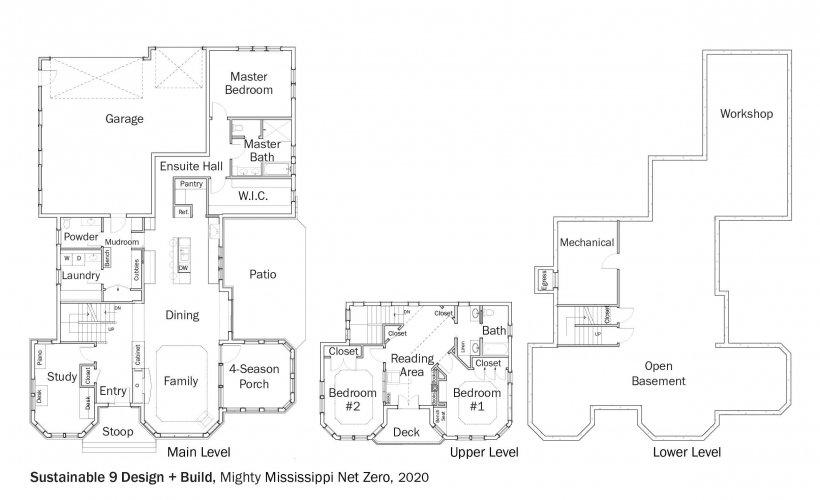 Floorplans for DOE Tour of Zero: Mighty Mississippi Net Zero by Sustainable 9 Design + Build.