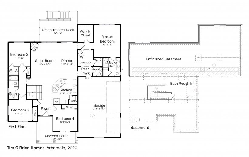 Floorplans for DOE Tour of Zero: Arbordale by Tim O'Brien Homes.