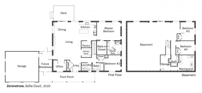 Floorplans for DOE Tour of Zero: Sofia Court by Zero Net Now / Greenhill Contracting.