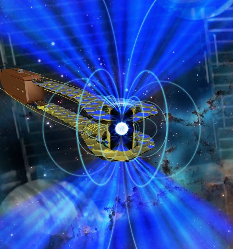 Composite image of a white dwarf star inside a tiny, gold canister (hohlraum) at the National Ignition Facility. Compression of the material inside the target was measured by time-resolved X-ray radiography.