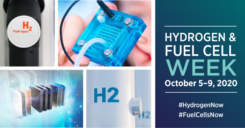 Hydrogen-related images and the text Hydrogen & Fuel Cell Week October 5-9, 2020 #HydrogenNow #FuelCellsNow