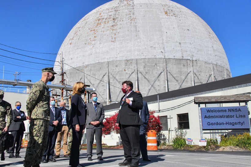 Naval Nuclear Laboratories personnel greet NNSA Administrator Lisa E. Gordon-Hagerty and Adm. James F. Caldwell Jr. at the Kenneth A. Kesselring Site.