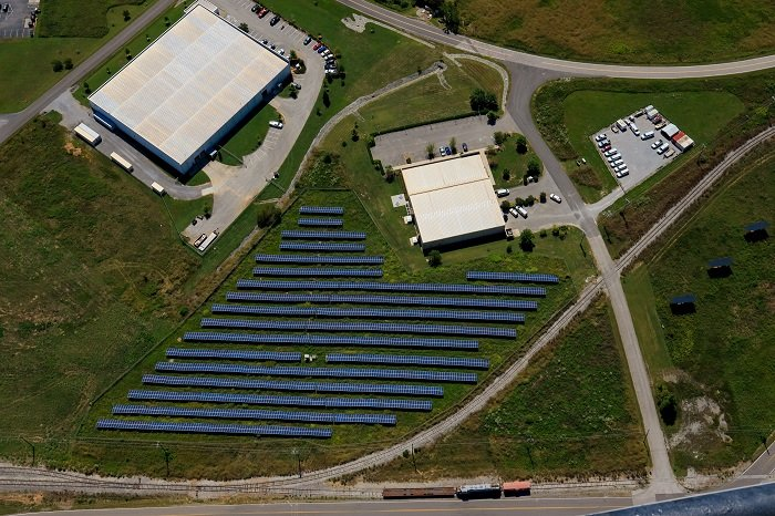 Among the reuses of land at the East Tennessee Technology Park are large solar fields to generate power.