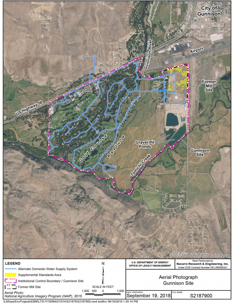 This map shows the municipal water system that provides clean water to residents near the former uranium processing site.