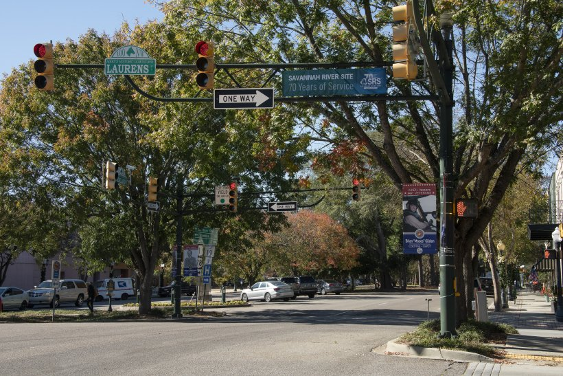 """SRS 70th Anniversary banners are displayed in Aiken to commemorate the Site's official anniversary on Nov. 28, which has been designated by state delegates as """"SRS Day in South Carolina""""."""